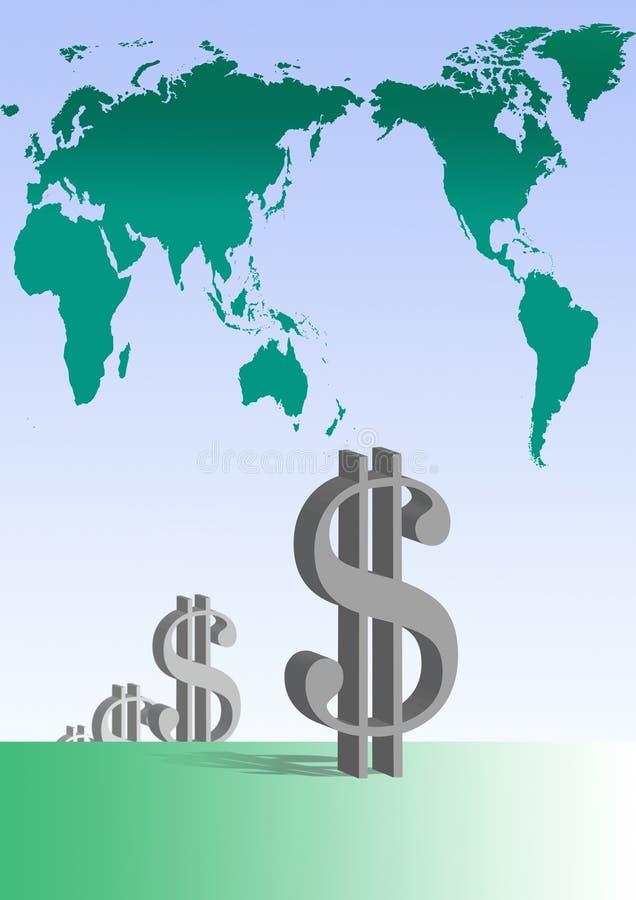Dólares da vinda ilustração do vetor