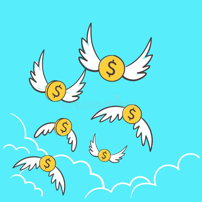 D?lares das moedas do dinheiro com o voo das asas ausente ao c?u Uma ideia gastando demais da ilustra??o para perder o dinheiro,  ilustração stock