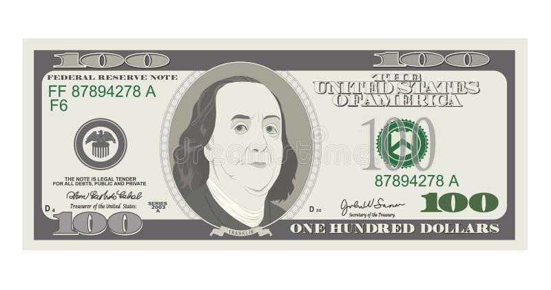 100 dólares de billete de banco, cuenta cientos dólares, presidente americano Benjamin Franklin stock de ilustración