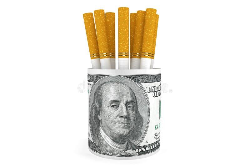 Dólares de billetes de banco con el cigarrillo fotos de archivo libres de regalías