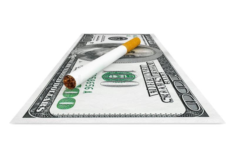 Dólares de billetes de banco con el cigarrillo imágenes de archivo libres de regalías