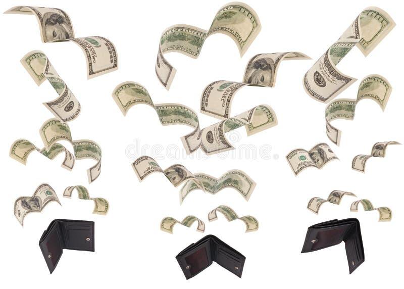 Dólares de funcionamiento lejos de tres carteras aisladas imagen de archivo libre de regalías