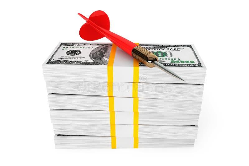 Dólares de cuentas con la flecha de los dardos en el top stock de ilustración
