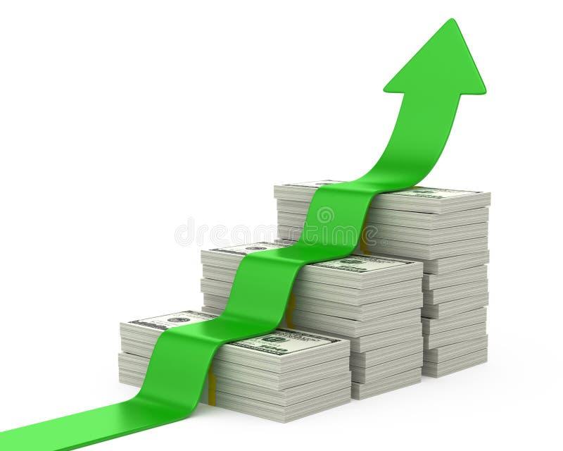 Dólares de escalera y flecha ascendente ilustración del vector