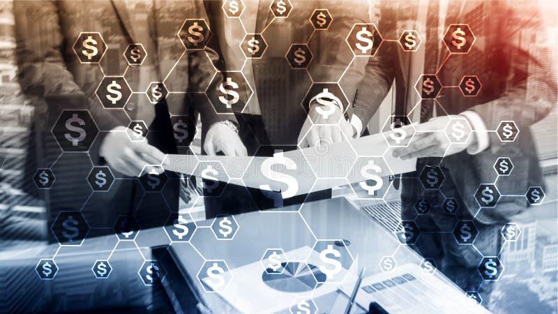Dólares de iconos, estructura de red del dinero ICO, comercio e inversión Crowdfunding fotos de archivo libres de regalías