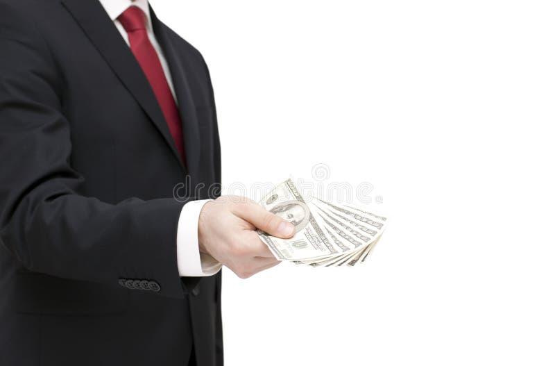 Dólares de la explotación agrícola del hombre de negocios imagen de archivo