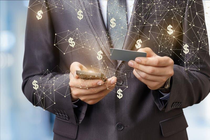 Dólares de la transferencia de una tarjeta del pago imagen de archivo libre de regalías