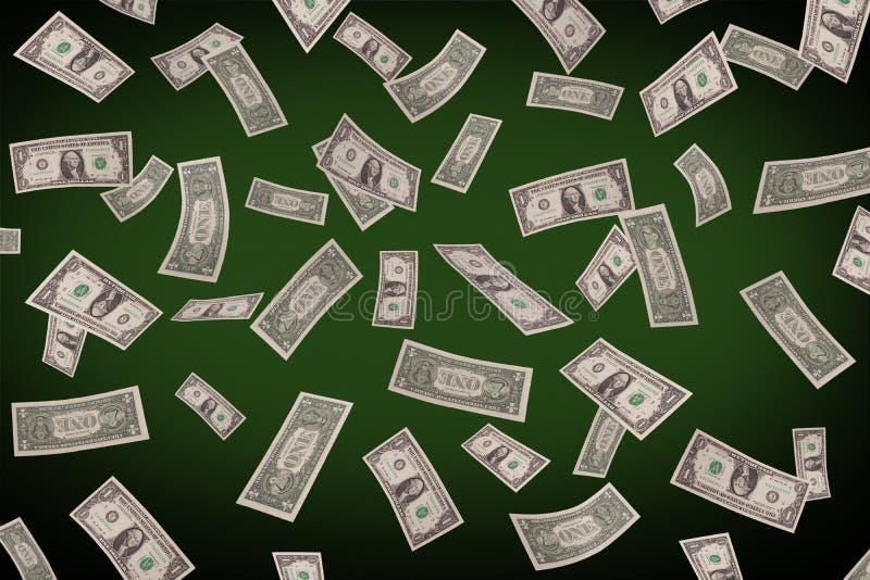 Dólares de queda na tabela do pôquer ilustração do vetor