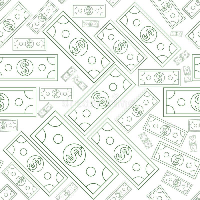 Dólares de textura inconsútil del dinero con la línea estilo del arte Ilustración del vector ilustración del vector