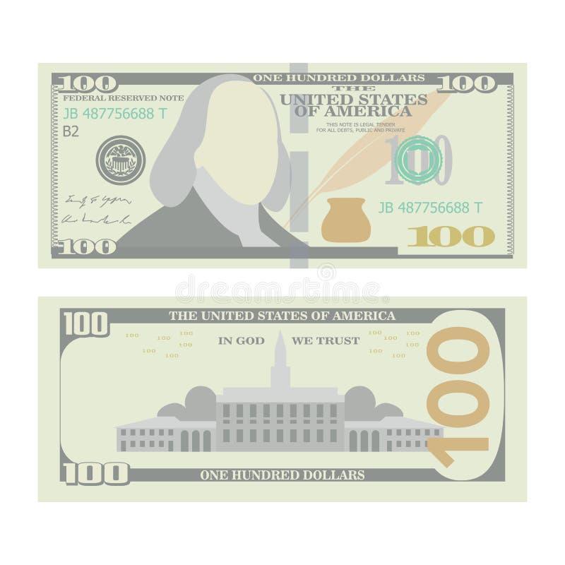 100 dólares de vector del billete de banco Urrency de los E.E.U.U. de la historieta Dos lados de cientos dineros Bill Isolated Il ilustración del vector