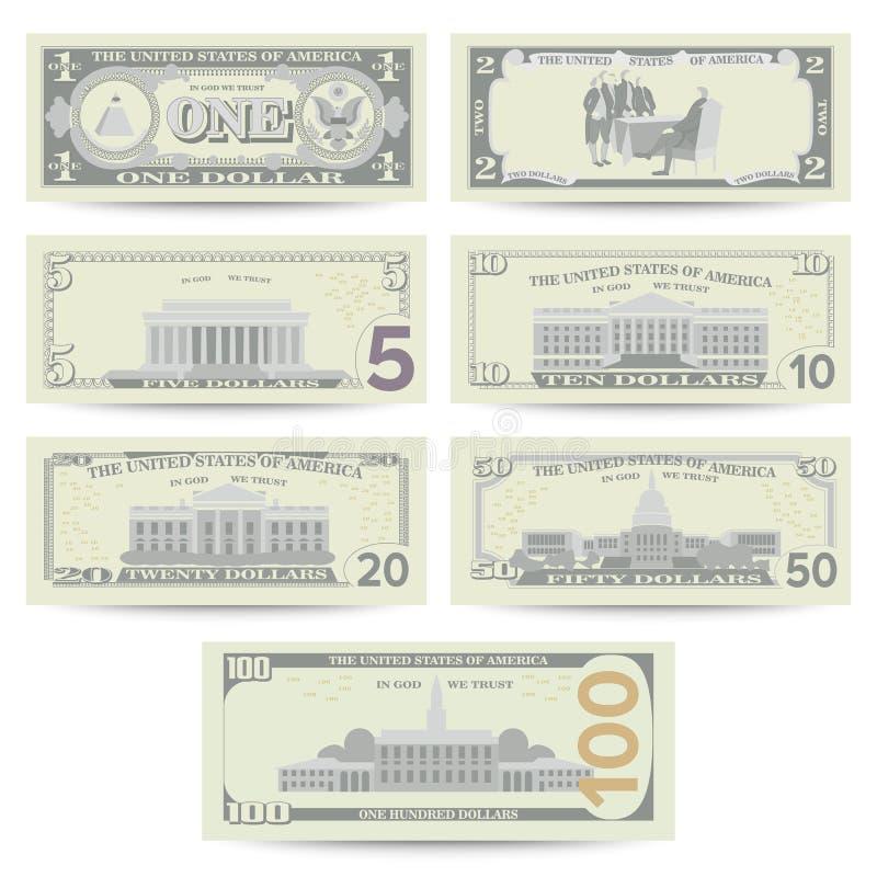 Dólares de vector determinado del billete de banco Moneda de los E.E.U.U. de la historieta Flip Side Of American Money Bill Isola ilustración del vector
