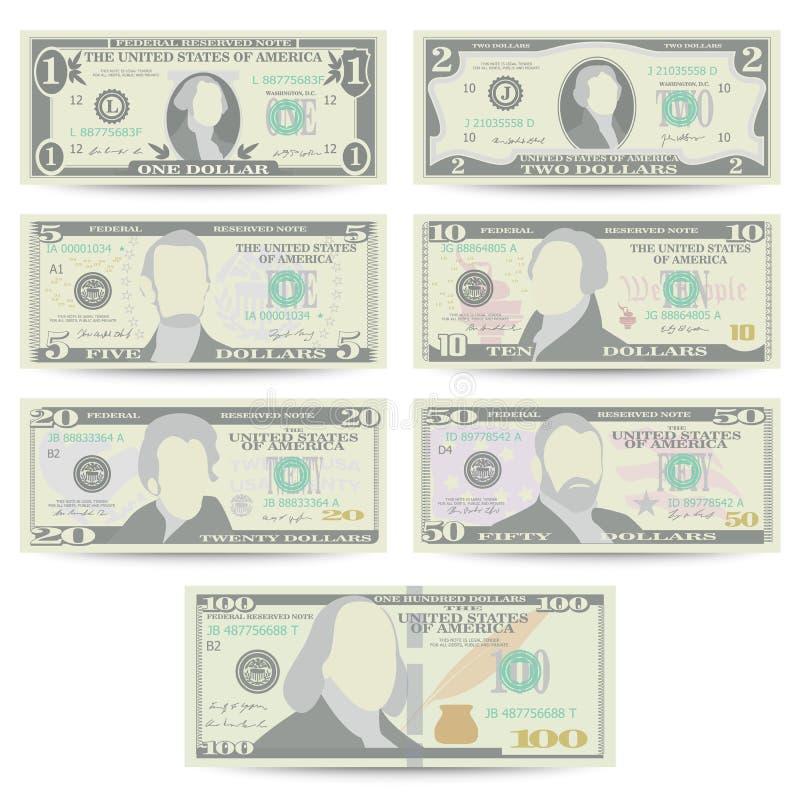 Dólares de vector determinado del billete de banco Moneda de los E.E.U.U. de la historieta Front Side Of American Money Bill Isol stock de ilustración