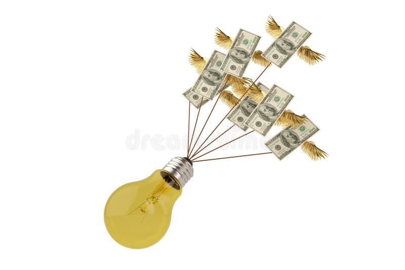 Dólares de voo do conceito criativo com a ampola grande no CCB branco ilustração do vetor