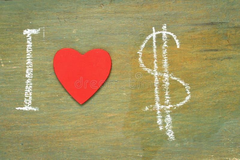 Dólares del amor del texto i imagen de archivo libre de regalías
