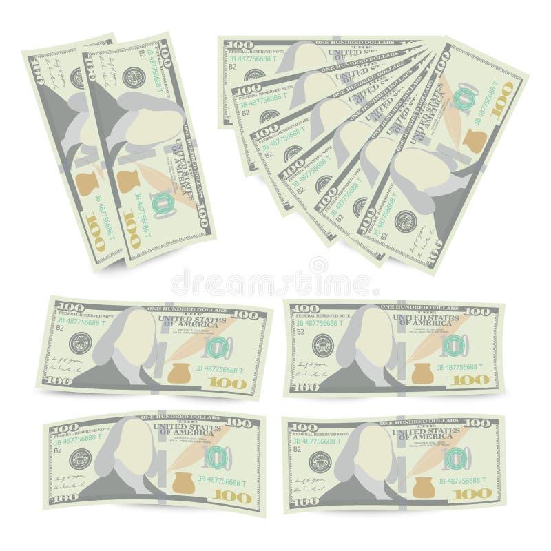 100 dólares del billete de banco de vector de la pila Cientos dineros Bill Isolated Illustration del americano El dinero realista stock de ilustración