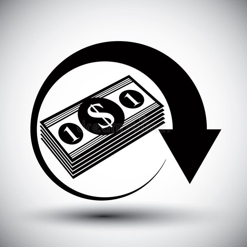 Dólares del efectivo de pila del dinero ilustración del vector