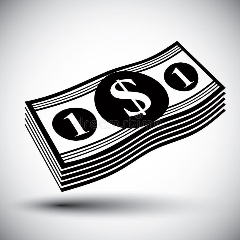 Dólares del efectivo del dinero de la pila del vector de solo icono simple del color libre illustration