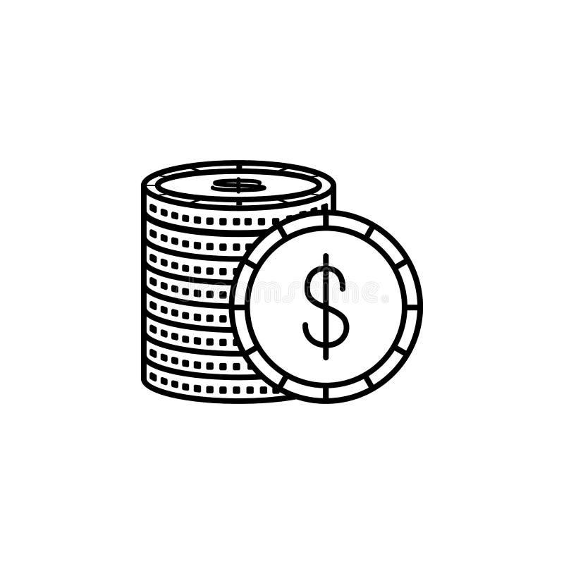 Dólares do ícone Elemento do ícone popular da finança Projeto gráfico da qualidade superior Sinais, ícone para Web site, DES da c foto de stock royalty free