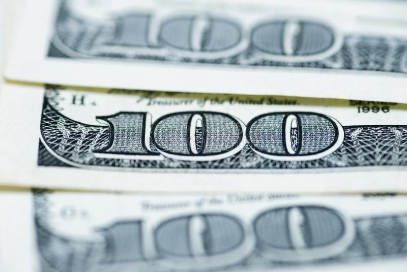 Dólares do conceito do close up Dólares americanos do dinheiro do dinheiro Cem notas de banco do dólar imagem de stock