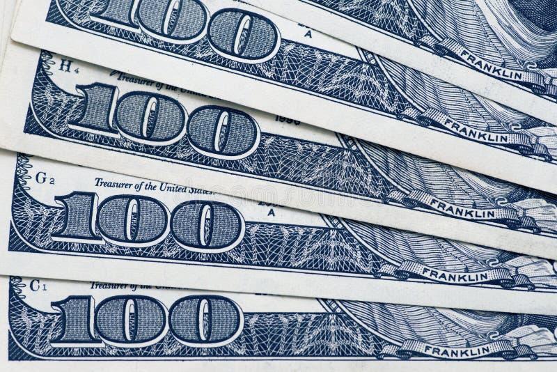 Dólares do conceito do close up Dólares americanos do dinheiro do dinheiro Cem notas de banco do dólar fotos de stock