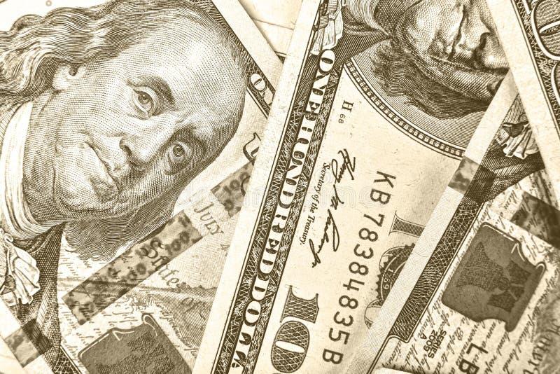 Dólares, 100 dólares, dólares dos EUA, cédulas, financeiras, dinheiro, f imagens de stock royalty free