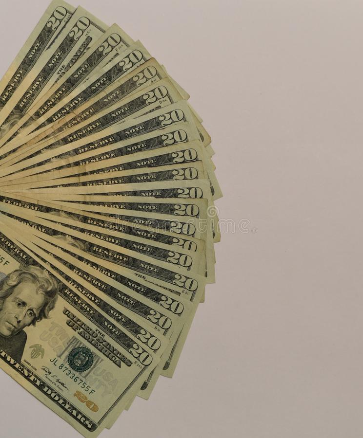 Dólares dos EUA do valor 20 fotografia de stock royalty free