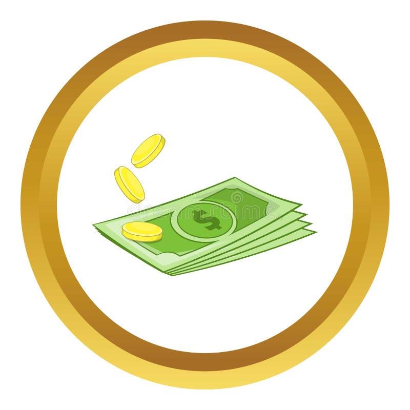 Dólares e ícone das moedas ilustração royalty free