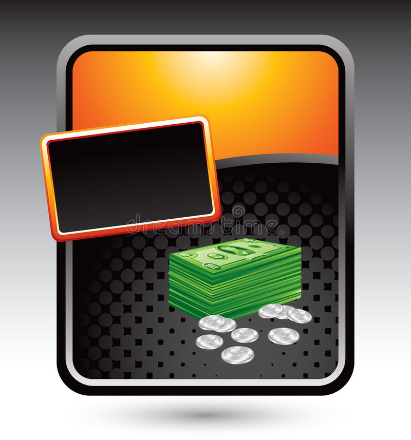 Dólares e centavos no anúncio estilizado alaranjado ilustração royalty free