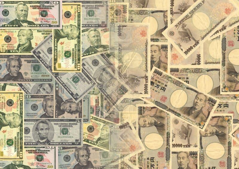 Dólares e ienes americanos ilustração royalty free