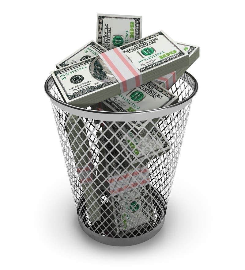 Dólares en el compartimiento de basura ilustración del vector