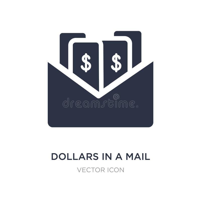 dólares en un icono del correo en el fondo blanco Ejemplo simple del elemento del concepto de UI ilustración del vector