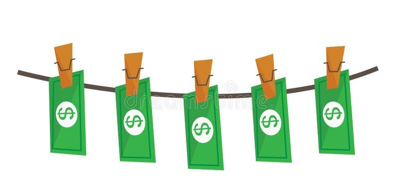 Dólares lavados na ilustração do vetor da corda ilustração royalty free
