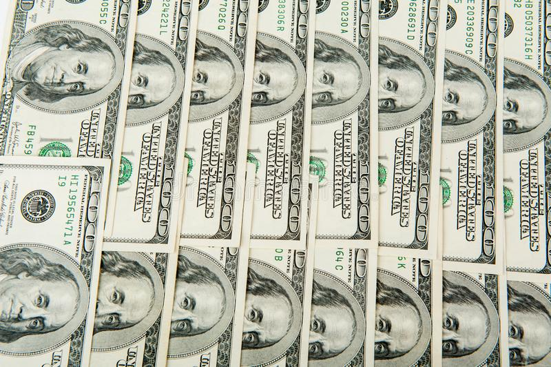 Dólares Nós moeda 100 contas de dólar fotografia de stock royalty free