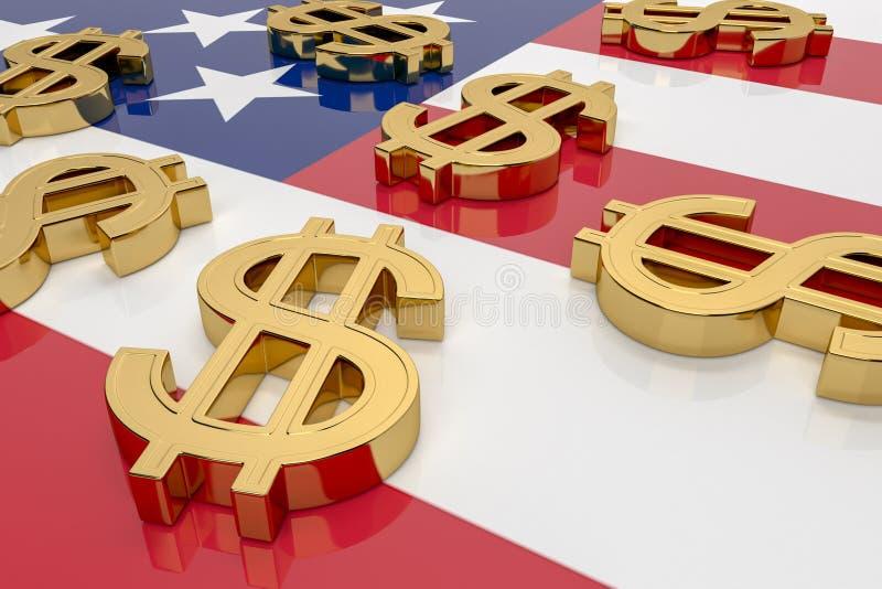 Dólares na bandeira americana Muitos sinais dourados em dólar estão na superfície brilhante da bandeira dos EUA 3d renderização,  ilustração do vetor