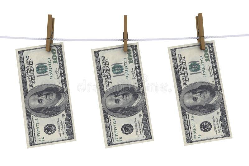 Dólares no clothespin ilustração do vetor