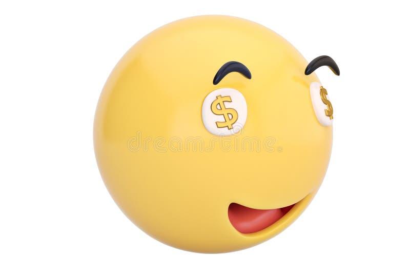 Dólares no emoticon dos olhos ilustração 3D ilustração stock