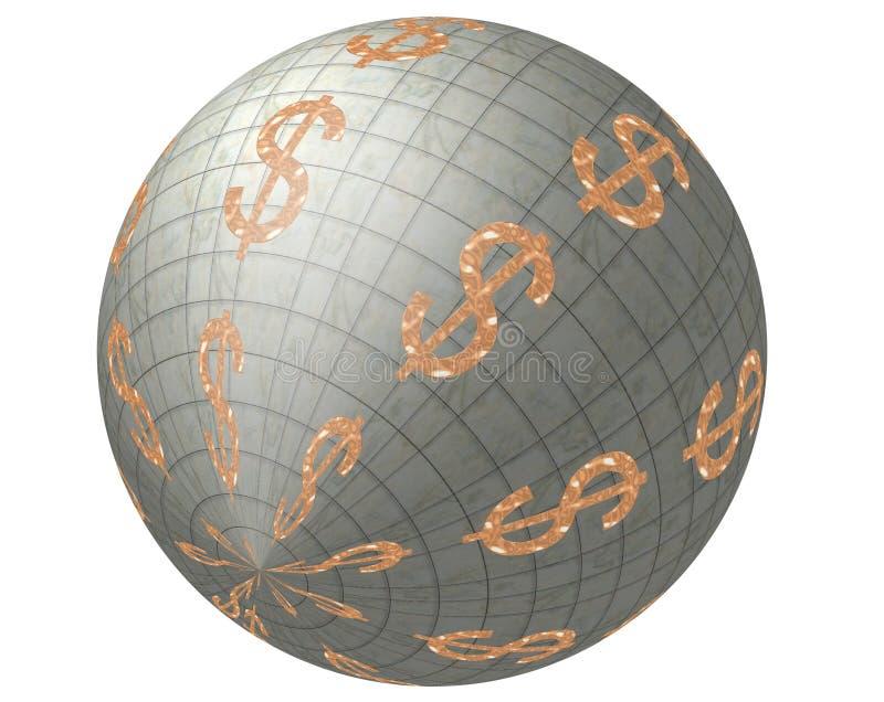 Dólares no mundo. ilustração royalty free