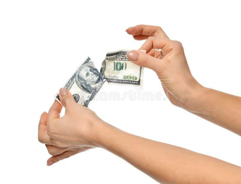 Dólares reais rasgados rasgados do dinheiro cem imagem de stock royalty free