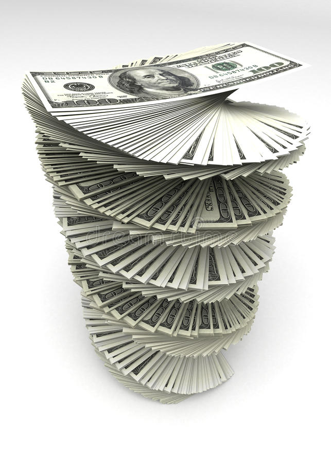 Dólares rodados ilustração stock