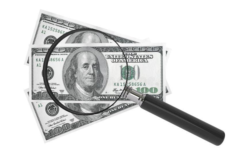Dólares y lupa ilustración del vector