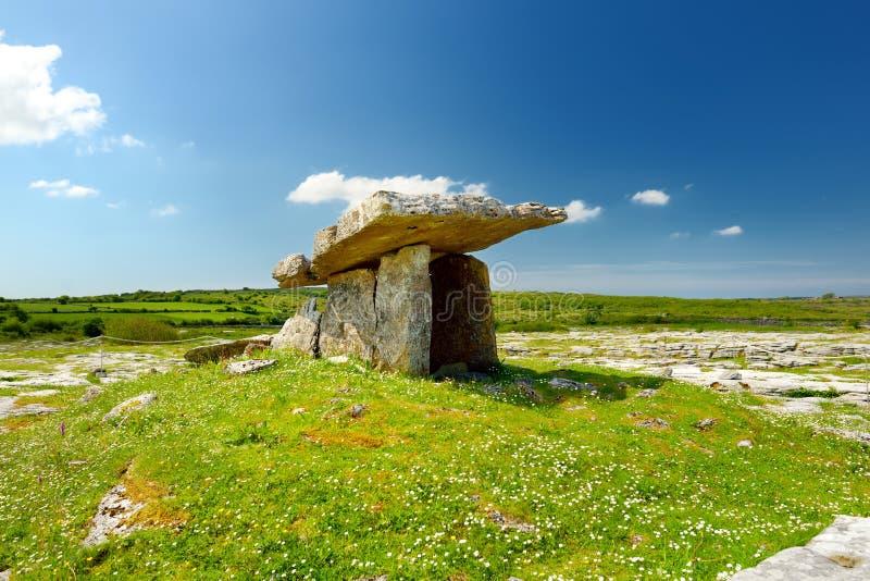 Dólmem de Poulnabrone, um túmulo portal Neolítico, atração turística situada no Burren, condado Clare, Irlanda fotos de stock