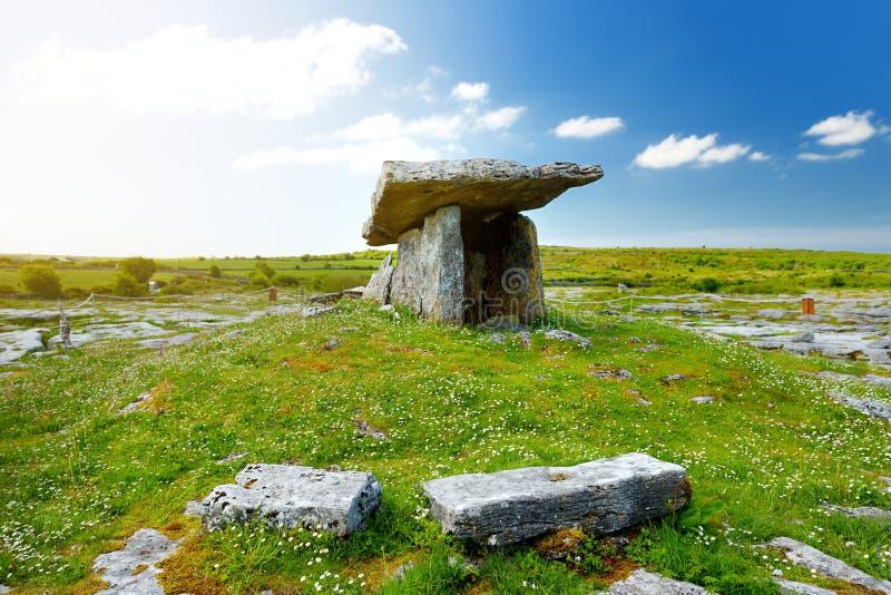 Dólmem de Poulnabrone, um túmulo portal Neolítico, atração turística situada no Burren, condado Clare, Irlanda imagem de stock