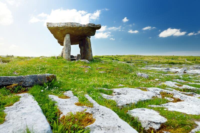 Dólmem de Poulnabrone, um túmulo portal Neolítico, atração turística situada no Burren, condado Clare, Irlanda imagens de stock
