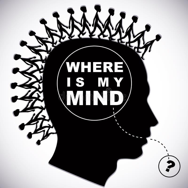 ¿Dónde está mi mente? ilustración del vector