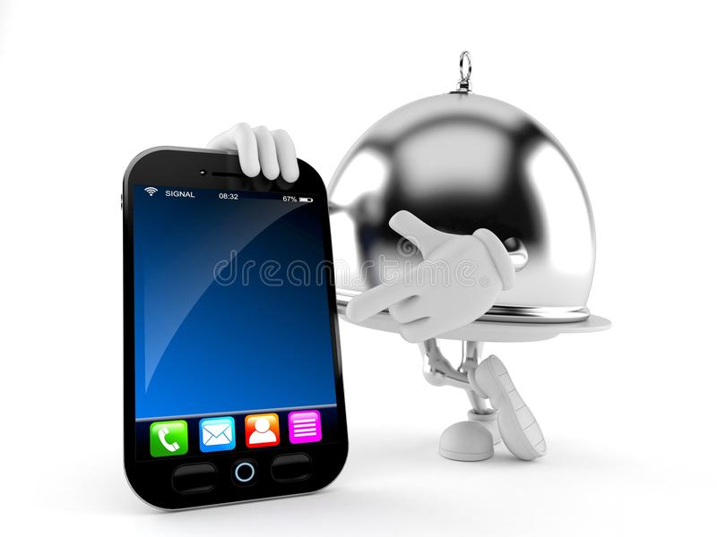 Dôme argenté de restauration avec le téléphone intelligent illustration stock
