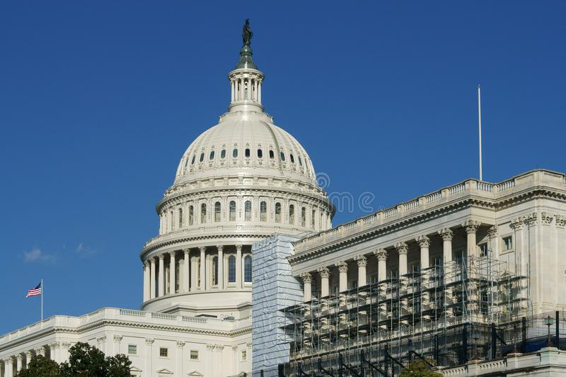 Dôme de capitol des Etats-Unis, de maison du congrès d'Etats-Unis et de siège de branche législative d'U S gouvernement fédéral images stock
