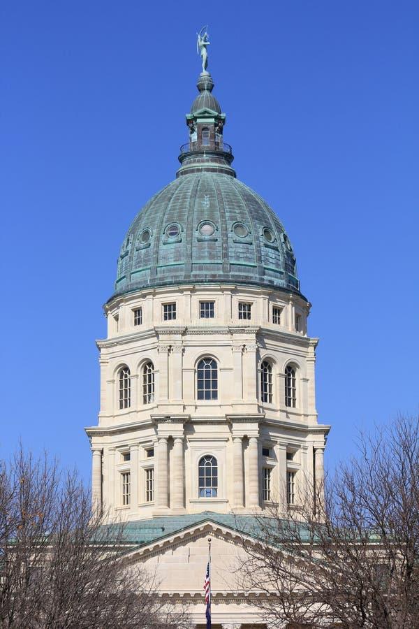 Dôme de construction de capitol d'état du Kansas image stock