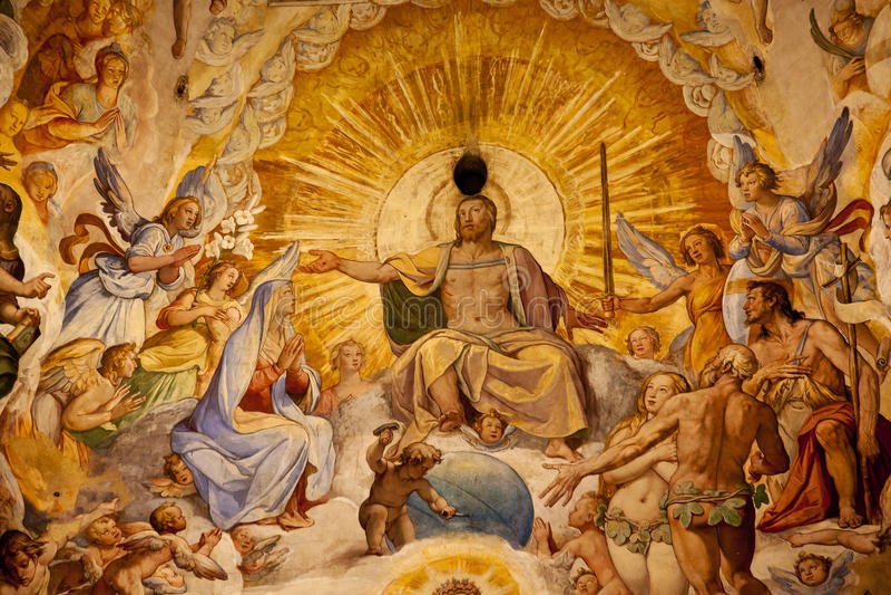 Dôme Florence de Duomo de fresque de Vasari de Jésus-Christ photo libre de droits