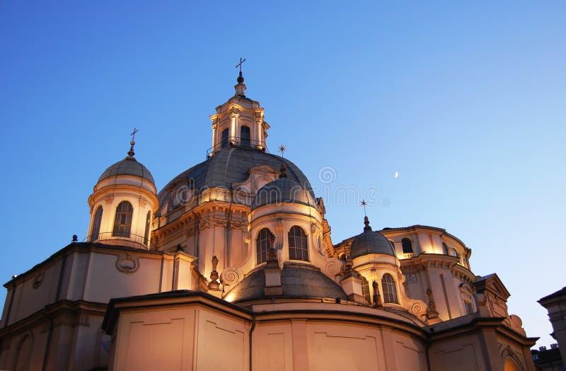 Dômes baroques d'église de Consolata photographie stock