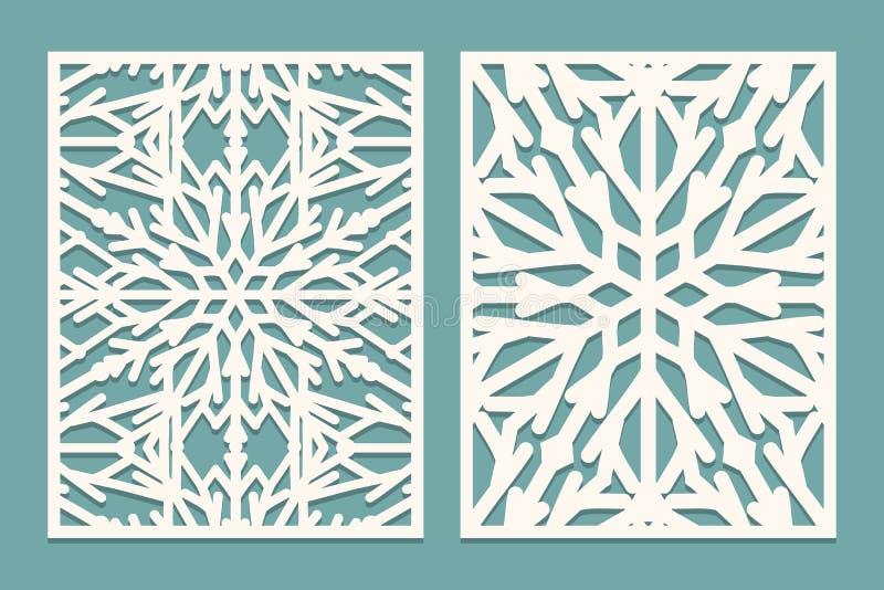 Dö och dekorerade paneler för laser snittet med snöflingamodellen Att klippa för laser som är dekorativt, snör åt gränsmodeller U stock illustrationer